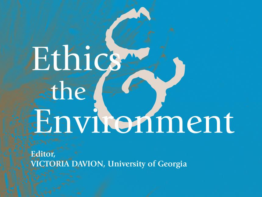 Ethics & the Environment Journal cover in blue, editor, Victoria Davion